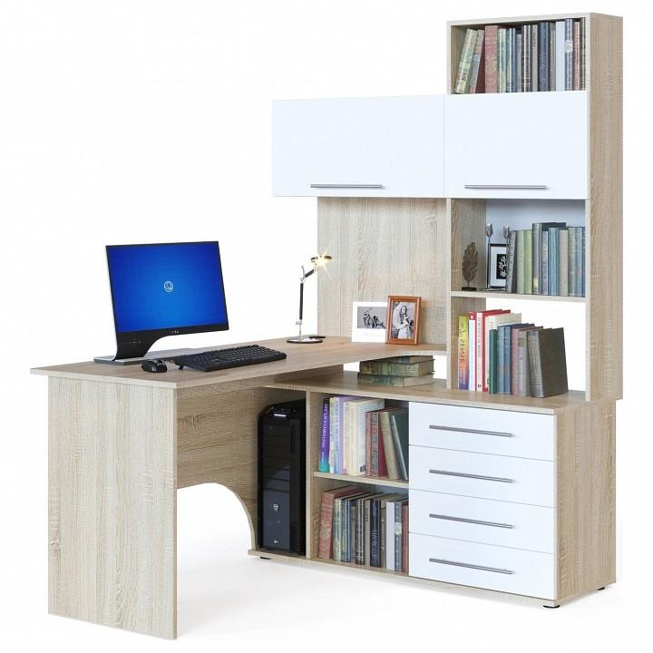 Офисный компьютерный стол с со шкафом, пеналом, тумбочкой и антресолью